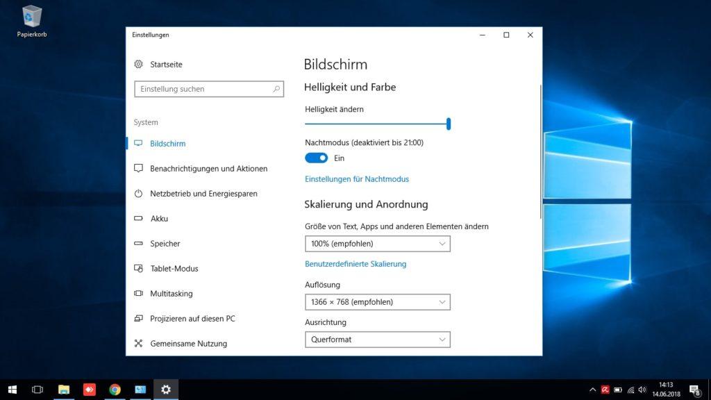 Nachtmodus Windows 10 Anzeigeeinstellungen
