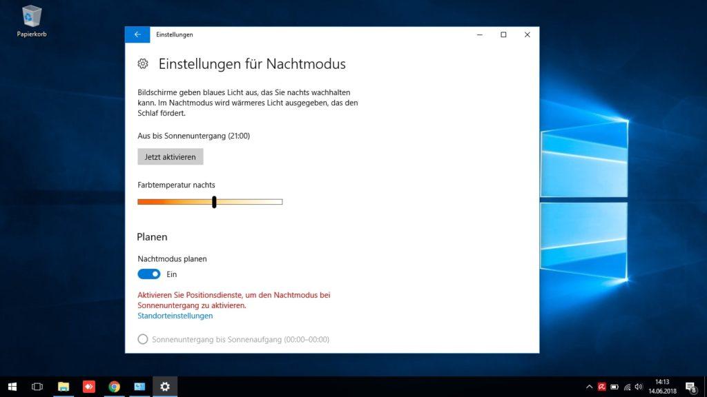 Nachtmodus Windows 10 Einstellung der Planenfunktion